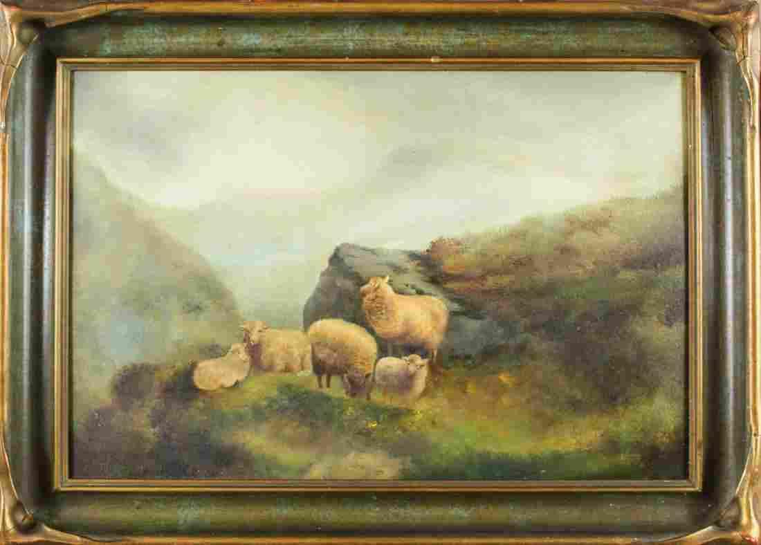 Antique Highland Sheep in a Landscape, Oil