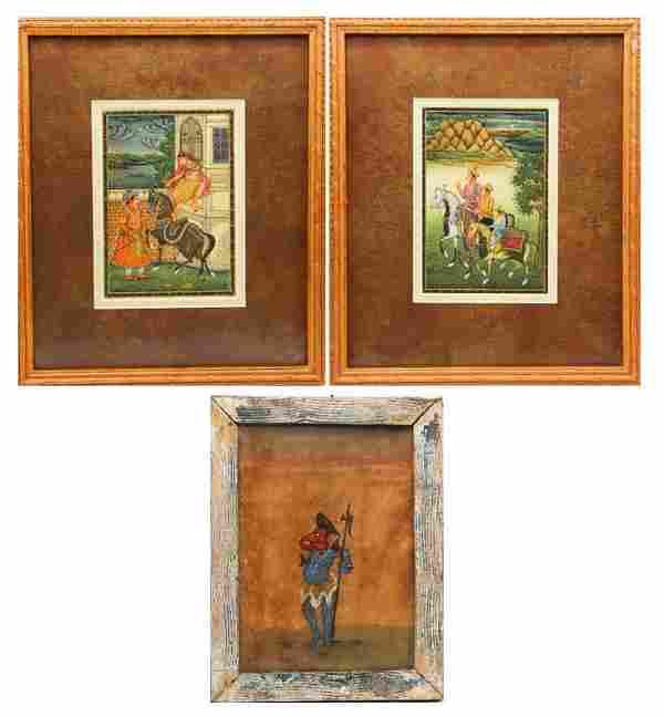 (3) Indian Miniature Paintings