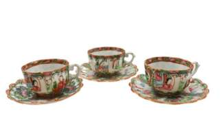 Group of 3 Rose Medallion Teacups and 3Saucers