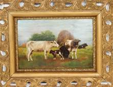 19th C Pastoral Oil on Board Painting Signed