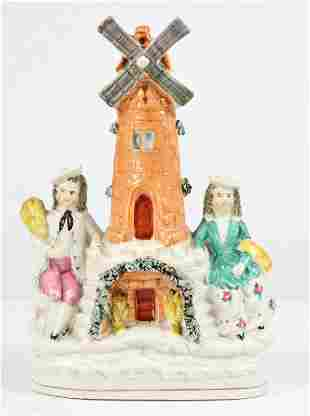 English Staffordshire Windmill w/ Figures