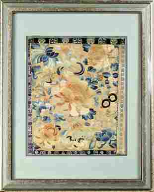 Framed Chinese Silk Embroidery of Bat and Flowers