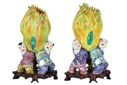 Pair of Chinese Figural Lotus Vases