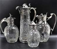 (4) Russian Silver Claret Jugs, w/ 3 Signed Faberge