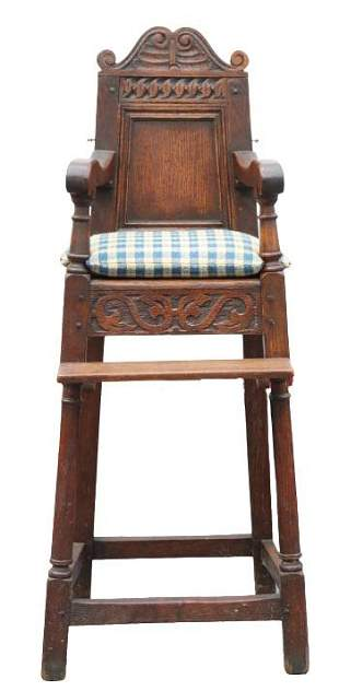 William and Mary Style Carved Oak High Chair