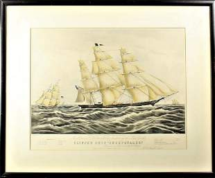Currier and Ives Clipper Ship Sweepstakes Litho