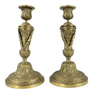 Pair of Neoclassical Style Brass Candlesticks