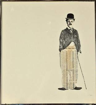 Charlie Chaplin, Indistinctly signed, Mixed Media