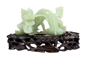 Chinese Carved Celadon Jade Dragon Figure