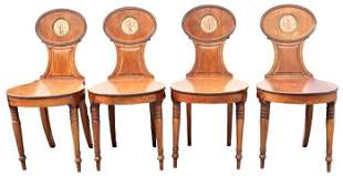 (4) Antique Mahogany Regency Chairs w/ Oval Backs