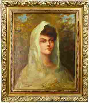 19th C. Portrait of a Lady, Oil on Canvas