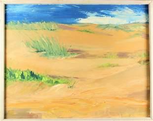 Signed Sand Dune Landscape, Oil on Panel
