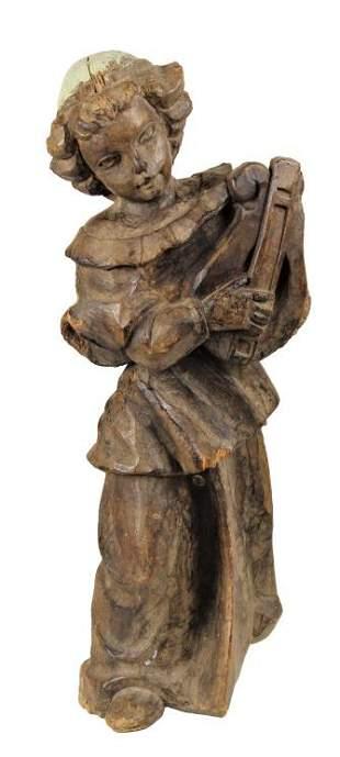 Large Antique Wood Carving Child