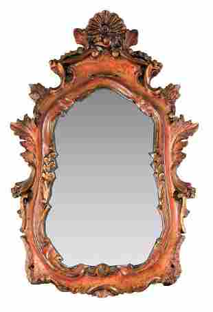 Antique Italian Carved Wood Mirror