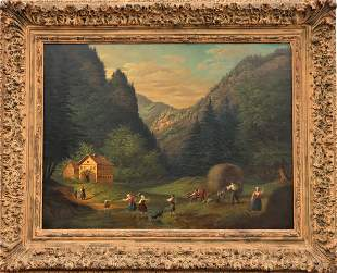 19th C Landscape Scene, Oil on Board