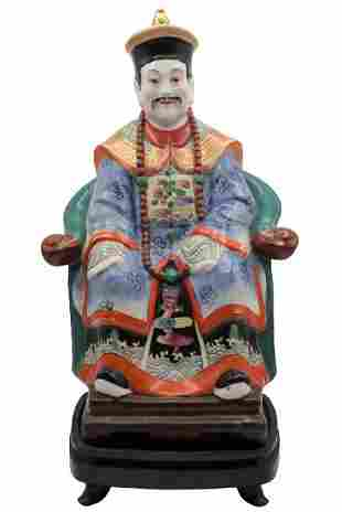 Polychrome Chinese Porcelain Seated Figure