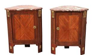 Rare Pair French Empire Marble Top Corner Cabinets