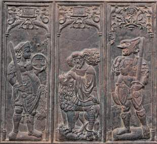 Rare 16th C. French Cast Iron Triptych