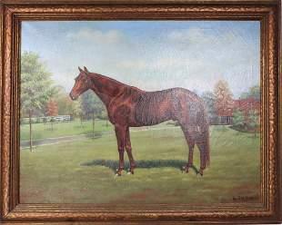 Signed L.A. Gleitsman, Portrait of a Racehorse O/C