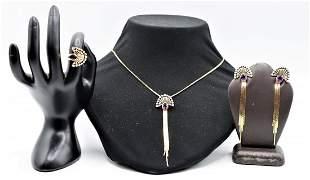 Erte 14k Amethyst & Diamonds Jewelry Set, 21 DWT