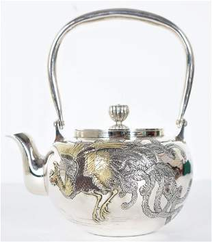 Japanese Sterling Silver Teapot, 20.5ozt
