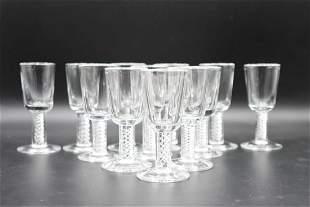 (11) Steuben Air Twist Wine Glasses