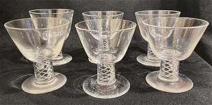 (9) Steuben Crystal Air Twist Cocktail Glasses