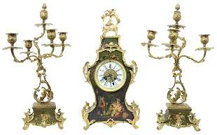 Set of French Gilt Bronze Clock and Candelabras