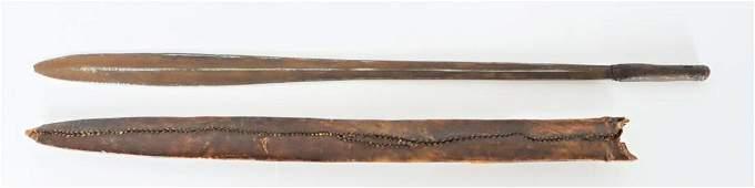 African Masai Sword W/ Leather Scabbard