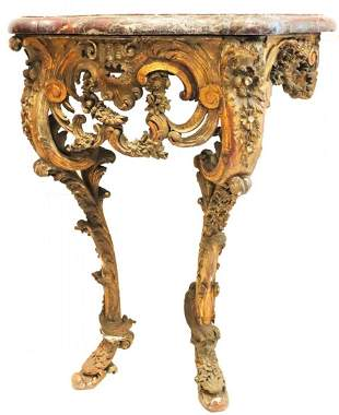 19th C French Carved Gilt Wood Marble Top Console