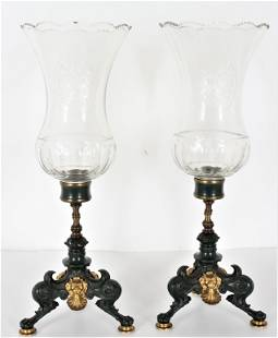Important French Pair of Bronze Baccarat Girandole