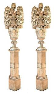 Antique Italian Monumental Carved Alabaster Urns