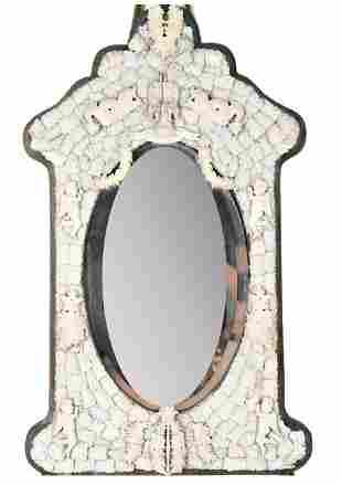 European Carved Bone Mirror