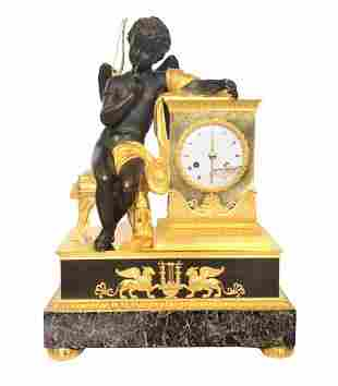 Early French Empire Bronze Mantle Clock