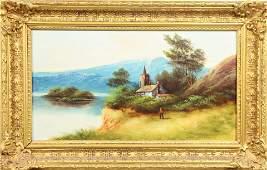 19th C English Figural Mountain Landscape, O/Panel