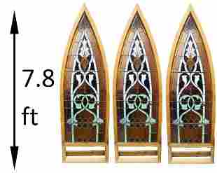 (3) Early Palace-Size Gothic Stained Glass Panels