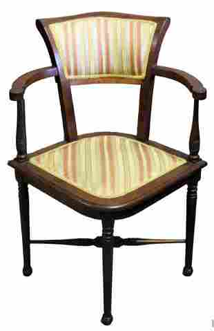 Vintage Upholstered and Carved Wood Diamond Chair
