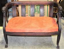 Antique Hand Carved Loveseat w Upholstery SIZE?