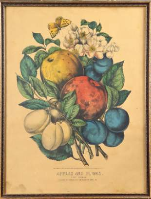 """Currier & Ives """"Apples and Plums"""" Print"""