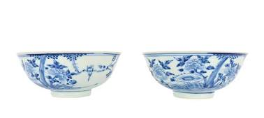 2 Chinese Blue/White Porcelain Bowls, 20th C.
