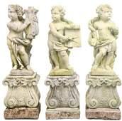 Outdoor Concrete Cherub Statues w Bases