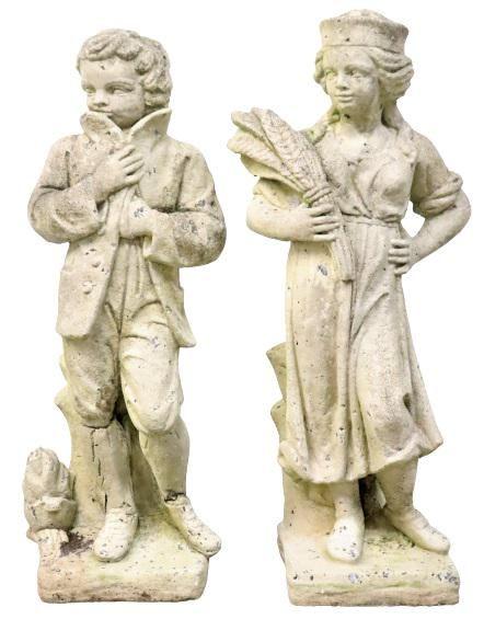 Pair of Outdoor Concrete Figure Statues