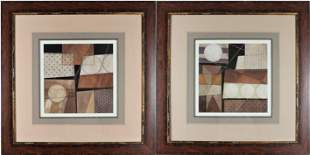 Pair of Framed Geometric Abstract Prints