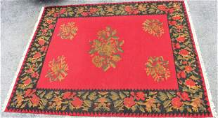 Hand Woven Red Floral Rug, Room Sized