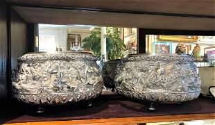 Pair Silver (950) Burmese/Thai Heavy Center Bowls