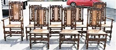 Set of (8) English Barley Twist Dining Chairs