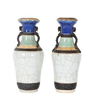 Pair of Chinese Craquelure & 3 Claw Dragon Vases