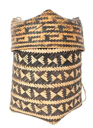 Woven Basket with Geometric Design