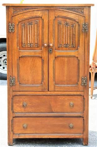 English Antique Linen Fold Oak Cupboard