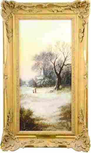 "L. Benson (Early 20th c.) Amer, ""Winter"" Oil/B"